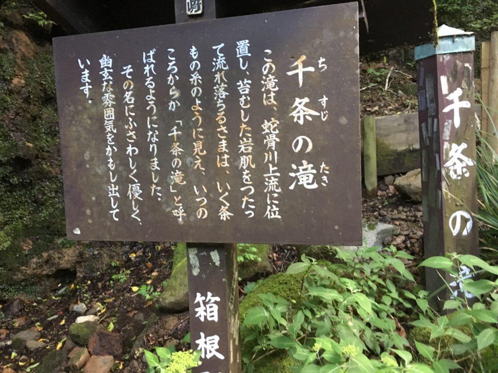 ちすじの滝の案内板